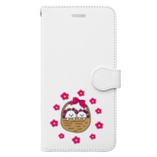 ビションフリーゼ 花かご Book-style smartphone case