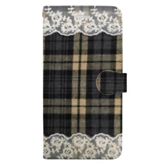 チェック&レース Book-style smartphone case