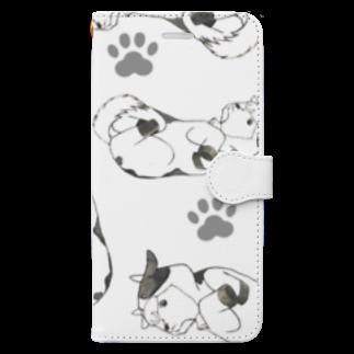 ぶんの牛着ぐるみ柴犬白黒 Book-style smartphone case