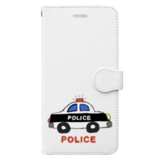 rurisapapa のパトカー Book-style smartphone case