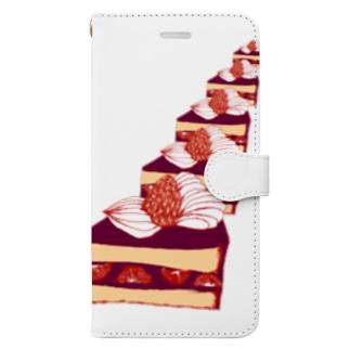 迫りくるケーキ Book-style smartphone case