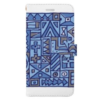 マルサンカクシカク_ブルー Book-style smartphone case