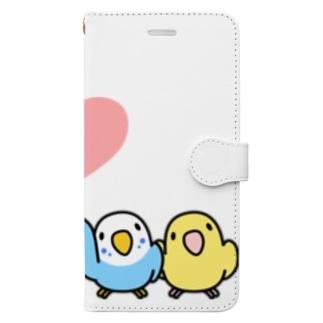 ハイタッチなかよしセキセイインコ【まめるりはことり】 Book-style smartphone case