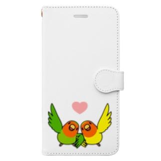 なかよしコザクラインコ【まめるりはことり】 Book-style smartphone case