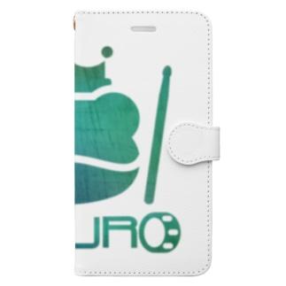 カエル ドラム グリーングラデーション コンクリート Book-style smartphone case