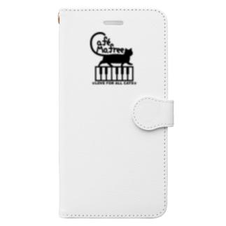鍵盤を歩くネコ Book-style smartphone case
