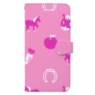 馬柄ピンク Book-style smartphone case