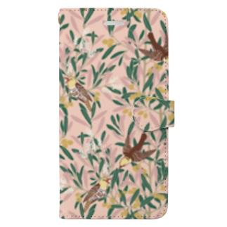オリーブの森 ピンク Book-style smartphone case