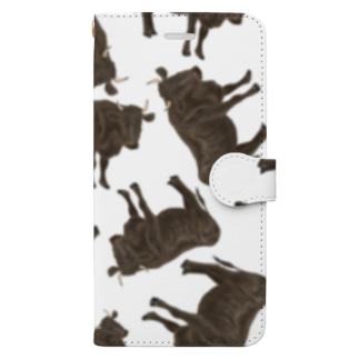 黒毛和牛がいっぱいいっぱい Book-style smartphone case