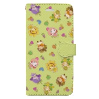 チエリちゃんとなかまたち  手描き風 グリーン Book-style smartphone case
