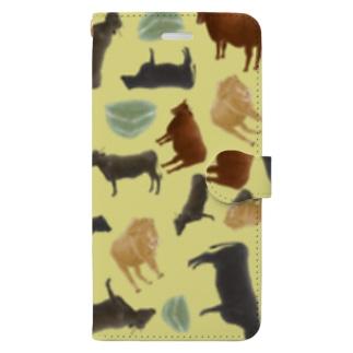 和牛🐃がいっぱい手帳型iPhoneケースきいろ Book-style smartphone case