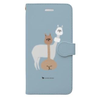 2匹の毛刈りアルパカ Book-style smartphone case