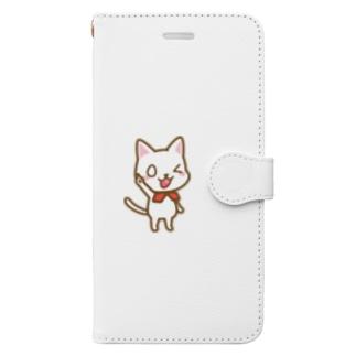 白ねこ公式キャラクター Book-style smartphone case