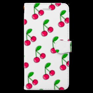 AkiRaLaLaのさくらんぼ 斜め Book-style smartphone case