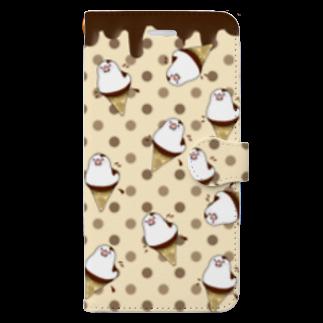 ぽぽうどんの文鳥アイスクリームスマホケース Book-style smartphone case