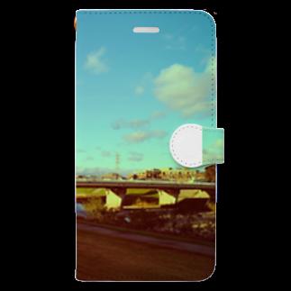 さきっぺの夕暮れの川沿い Book-style smartphone case