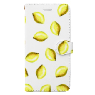 Flute series -lemon- white Book-style smartphone case