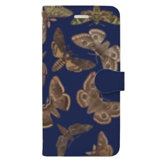 欧州の蛾(青) Book-style smartphone case