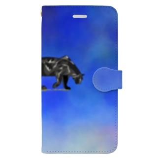 Black panther  (blue手帳型) Book-style smartphone case