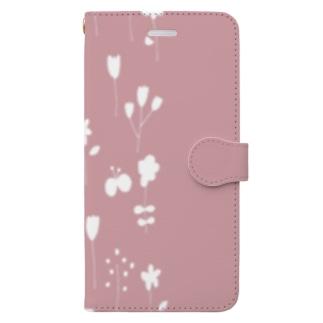 北欧フラワーガーデンシルエット【くすみピンク】 Book-style smartphone case