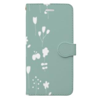 北欧フラワーガーデンシルエット【くすみグリーン】 Book-style smartphone case