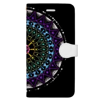 七色﹣点描曼荼羅 Book-style smartphone case