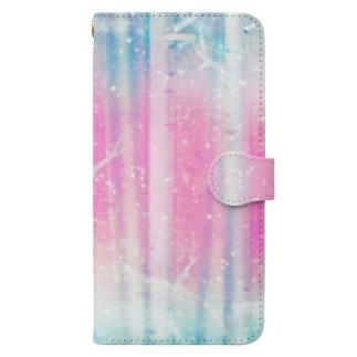 スマホ手帳型 ピンクの森 Book-style smartphone case