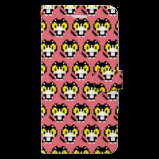やぶのやぶねこドット(ピンクグレープフルーツ) Book-style smartphone case