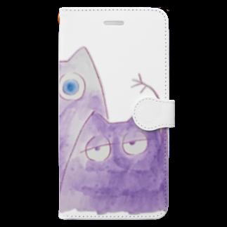 38_のむらさきのいきものたち Book-style smartphone case