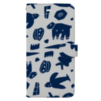 どうぶつしょくぶつの世界 ネイビー Book-style smartphone case