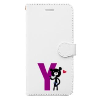 モノクマアルファベットY Book-style smartphone case