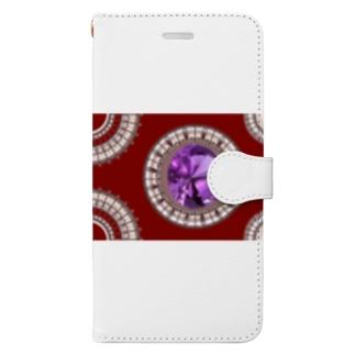 【プリズモリイ魔法雑貨店シリーズ】幸宝石と招魔法のアンティーク風グッズ/アメジスト(紫水晶) Book-style smartphone case