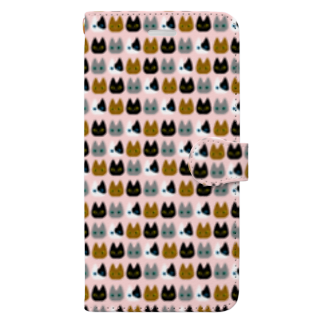 PSYCHの猫総柄 Book-style smartphone case