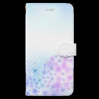 orange_honeyのあじさいと水滴 Book-style smartphone case