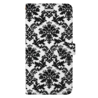 ダマスク柄ホワイト Book-style smartphone case
