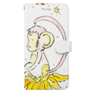 幸せのお花とさる Book-style smartphone case
