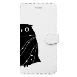 夜のフクロウ Book-style smartphone case