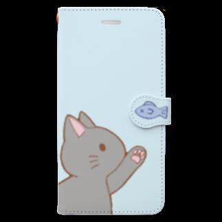 ゆめかわ屋 いそぎんちゃくのお魚にゃー グレー Book-style smartphone case