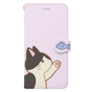 お魚にゃー 白黒ハチワレ Book-style smartphone case