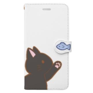 お魚にゃー 黒 Book-style smartphone case