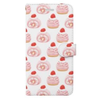 苺ロールケーキ×モンブラン Book-style smartphone case