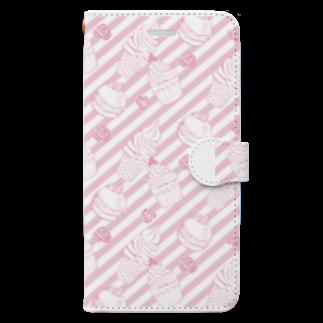 トシダナルホのピンクのお菓子 Book-style smartphone case