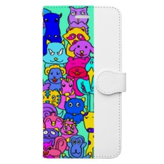 カラフルアニマルスマホケース Book-style smartphone case