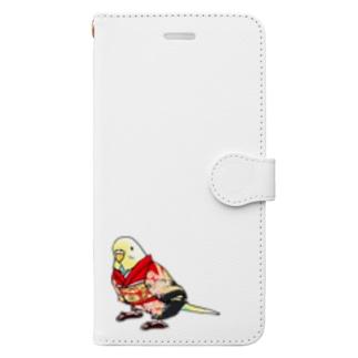 まめるりはことりのごきげん着物セキセイインコ【まめるりはことり】 Book-style smartphone case