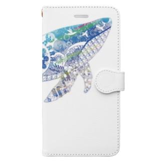 切り絵のクジラスマホケース Book-style smartphone case