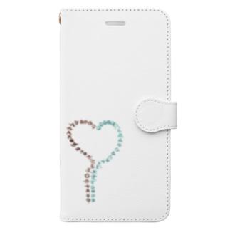 ハートのアワウタ Book-style smartphone case