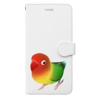 まめるりはことりのボタンインコ おすましルリゴシボタンインコ【まめるりはことり】 Book-style smartphone case