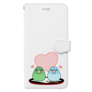 まめ大福マメルリハ【まめるりはことり】 Book-style smartphone case