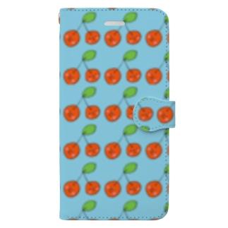 さくらんぼいっぱい Book-style smartphone case