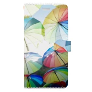 空飛ぶカラフル傘2 Book-style smartphone case